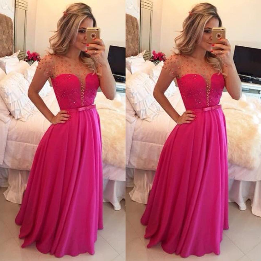 Sheer Prom Dresses 2016 Fuschia A Line Crew Neckline