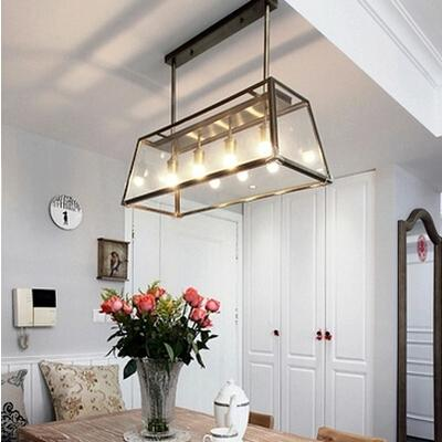 modern kitchen light fixtures stainless steel rh filament chandelier edison bulb glass box living ...
