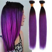 stylish straight purple weave hair