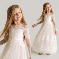 2016 White Lace Long Sleeve Little Flower Girls Dresses ...