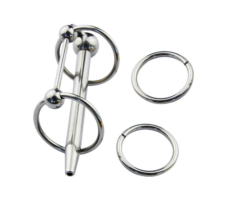 New Stainless Steel SOUNDING 2 Rings Male Urethral