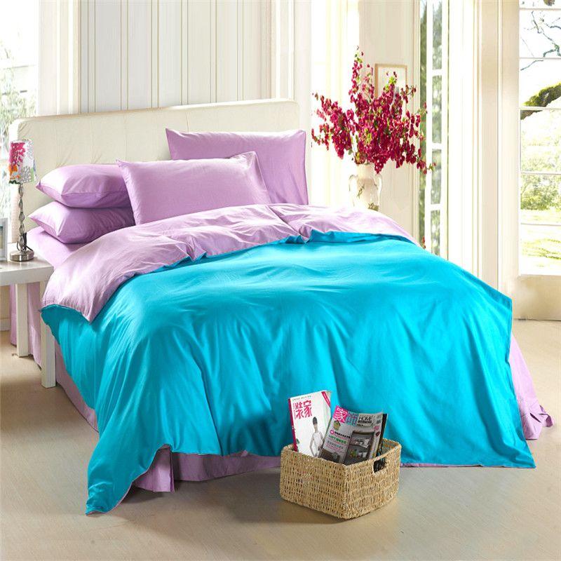 acheter aqua bleu violet lilas ensemble de literie king size queen couette doona housse de couette western drap de lit double couvre lit draps de lit 100