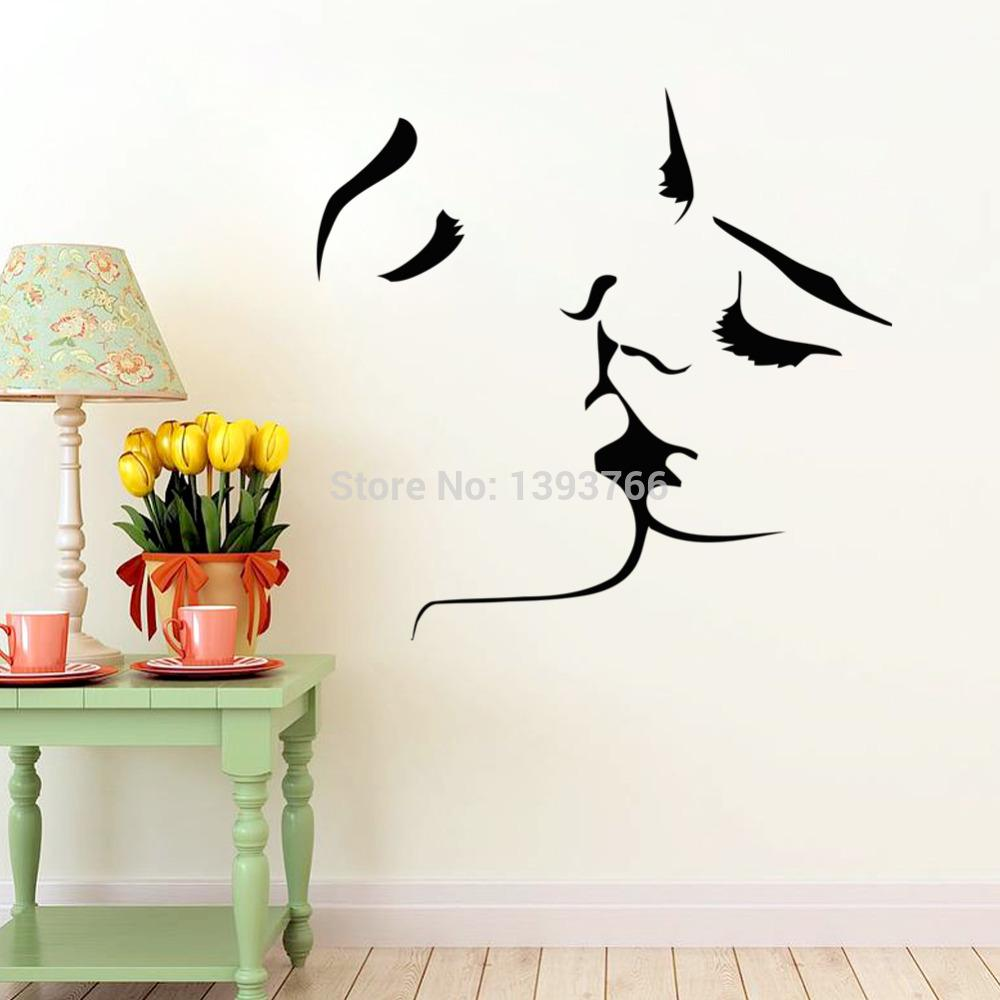 Wees geduldig wall sticker fun walls - Couple Kiss Wall Stickers Home Decor Wedding Decoration Wall Sticker For Bedroom Decals Mural Bird Wall
