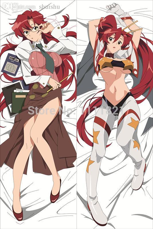 Wholesale Hot Anime Gurren Lagann Yoko Littner Body Pillowcase Tengen Toppa Gurren Lagann Nia Teppelin Dakimakura  Hotdog Pillow Cheap Pillowcases From