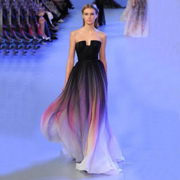 Strapless Ombre Prom Dress