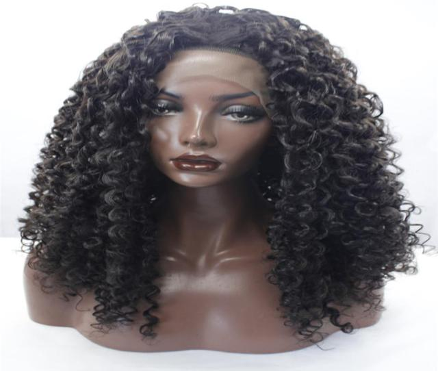 Lace Front Wig Best Quality Short Curly Wigs Synthetic Ladys Hair Wig Short Curly Africa American Synthetic Lace Front Wig For Black W Human Hair Brazilian