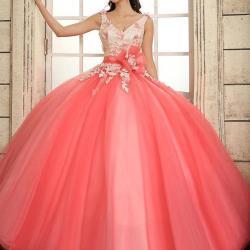 ceccdee8d27 Cheap 2015 Coral Quinceanera Dresses Straps V Neck Floral