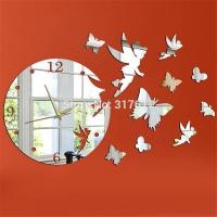 Fairy With Butterfly Mirror Wall Clock 17.7''H Acrylic ...