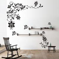 Butterfly Vine Flower Wall Decals Vinyl Art Stickers ...