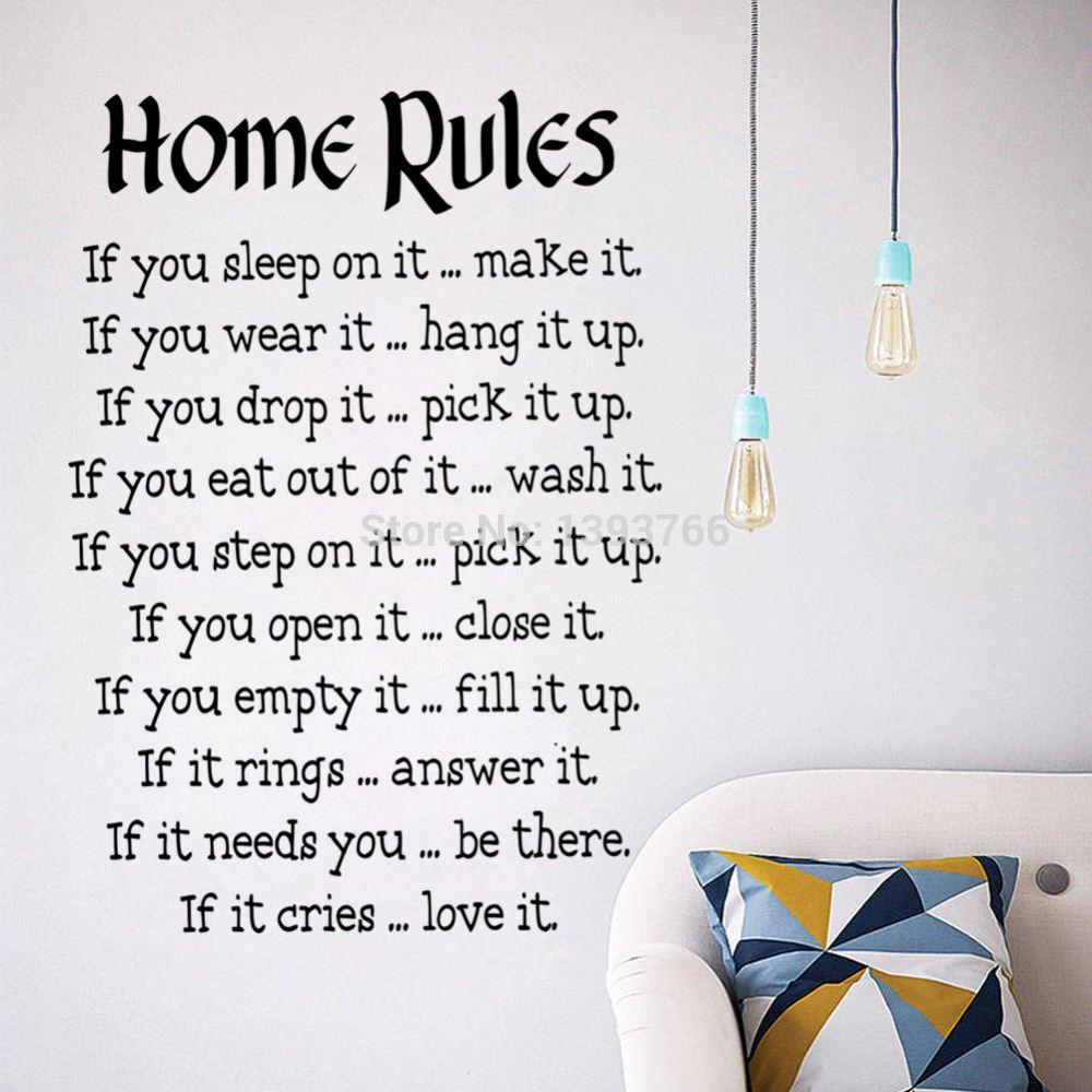 Home Rules Quote Wall Stickers Home Decor Vinyl Art Decals Sticker