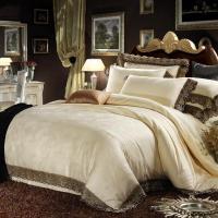 Cream Colored Luxury Jacquard Silk Cotton Lace Bedding ...