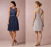 Celia Silver Grey Lace Bridesmaid Dresses Jewel Neckline ...