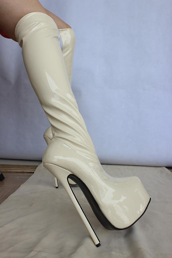 8 Heel Patent Leather Knee High Boots Extreme High Heel