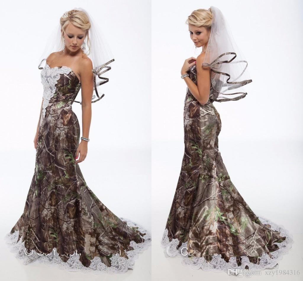 Lace Camo Wedding Dresses Trumpet Style Long Forest