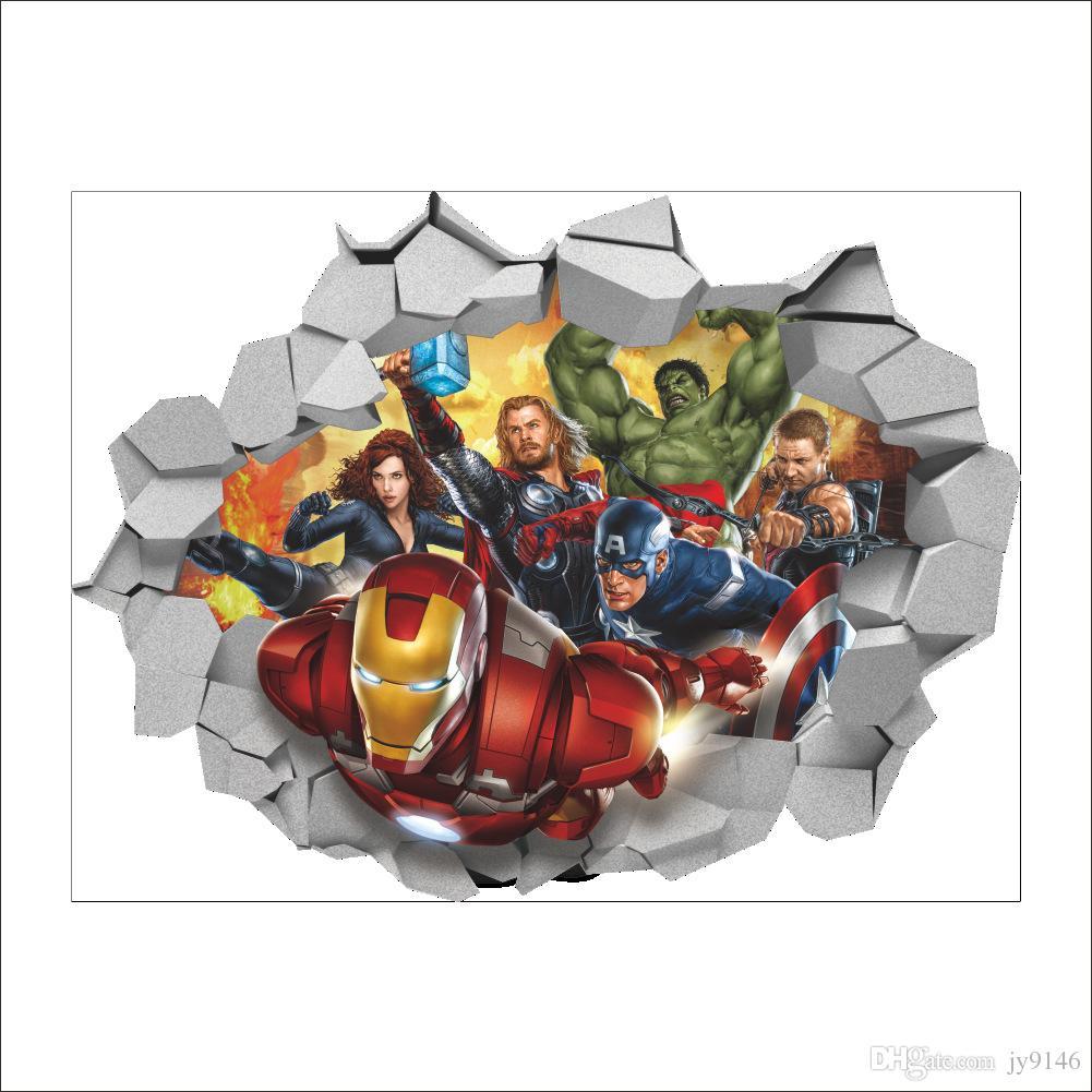 3d Wallpaper For Kid Bedroom Compre Dibujos Animados En 3d The Avengers Etiqueta De La