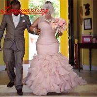 Plus Size African Wedding Dresses With Court Train Tiered