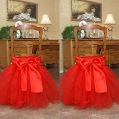 Chair Covers Decorations Counter High Table And Chairs Set 2018 Red Tutu Tulle Sashes Satin Bow Made To Order