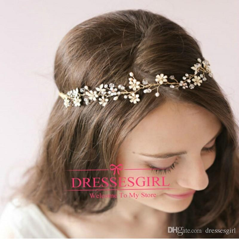 2015 Gold Crystal Hair Bands Tiaras For Wedding Jewellery