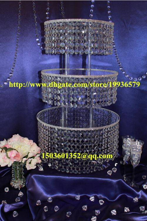 Acrylic Crystal Chandelier Wedding Round Cake Stand 3 Tier