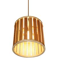 EMS E27 Pendant Light Drum Shaped Wooden Shade Hanging ...