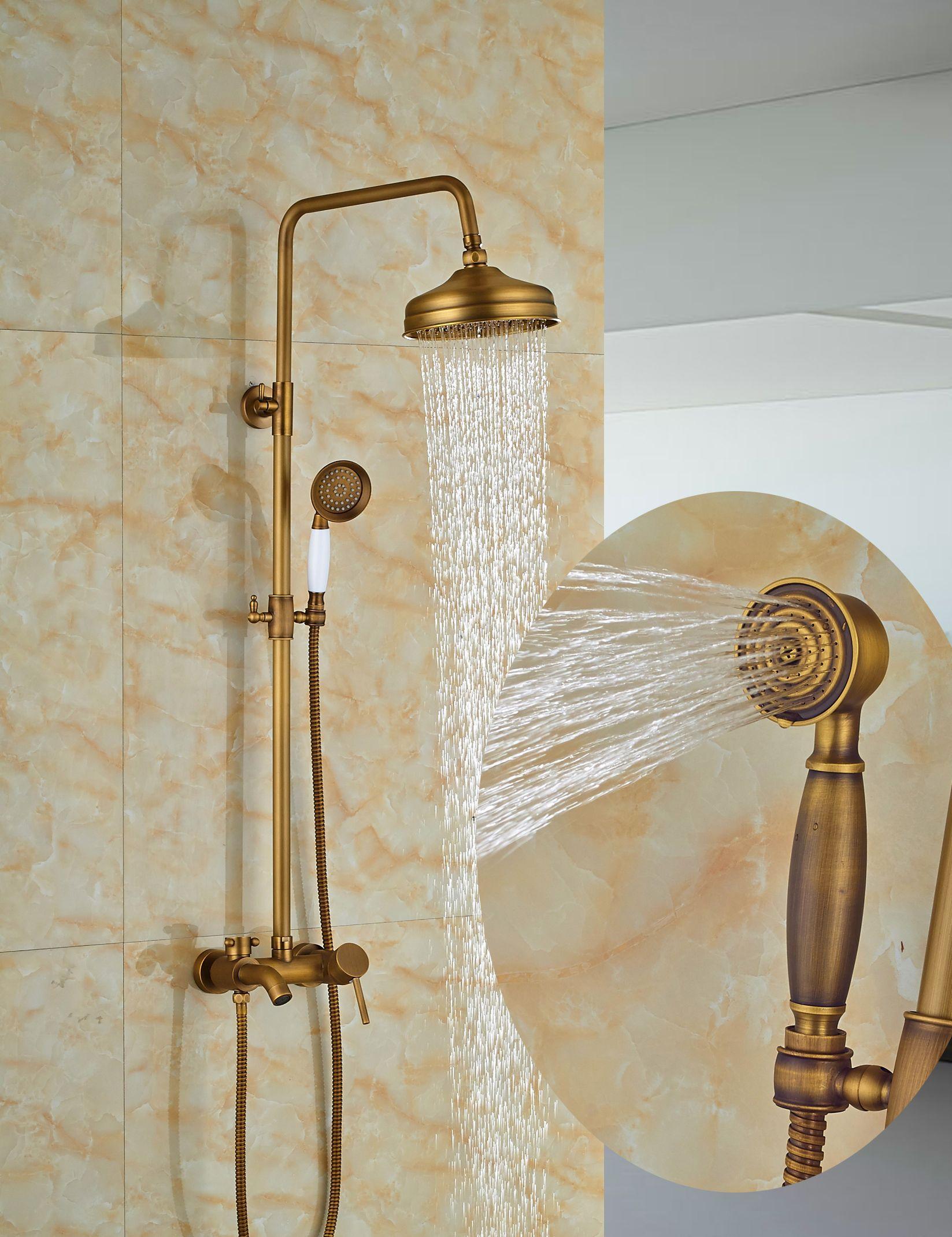 Wholesale And Retail Classic Antique Brass 8 Round Rain Shower Faucet Set Tub Spout Mixer Tap W Hand Shower Sprayer