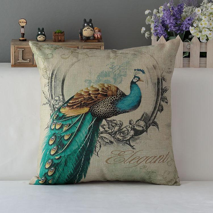 sofa cushion covers online fusion bed peacock decorative luxury home decor throw ...