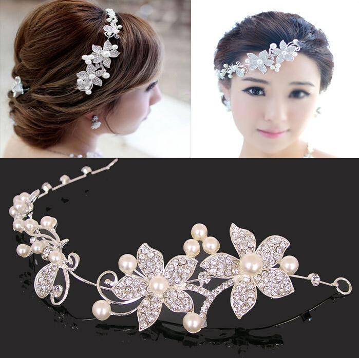 fashion wedding bridal hair jewelry fancy pearls flower sparkly crystal bridal tiaras hair accessory bridal jewelry in sotck wedding bridal hair accessories
