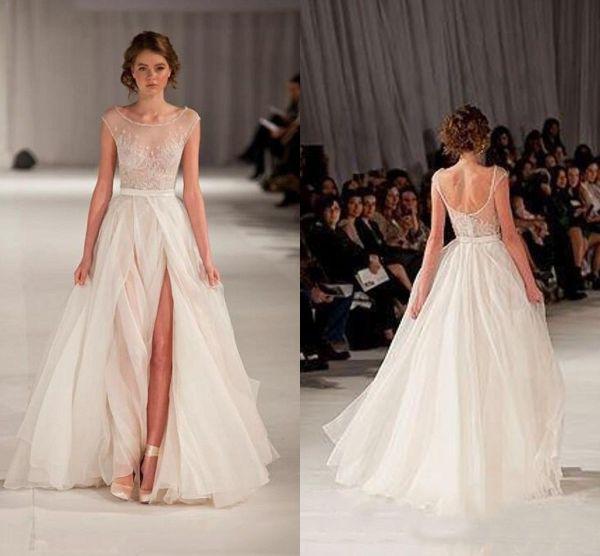 Beach Wedding Dress with Slit