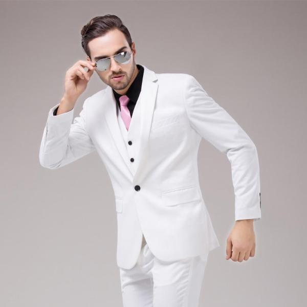 Pink and White Prom Suit Men