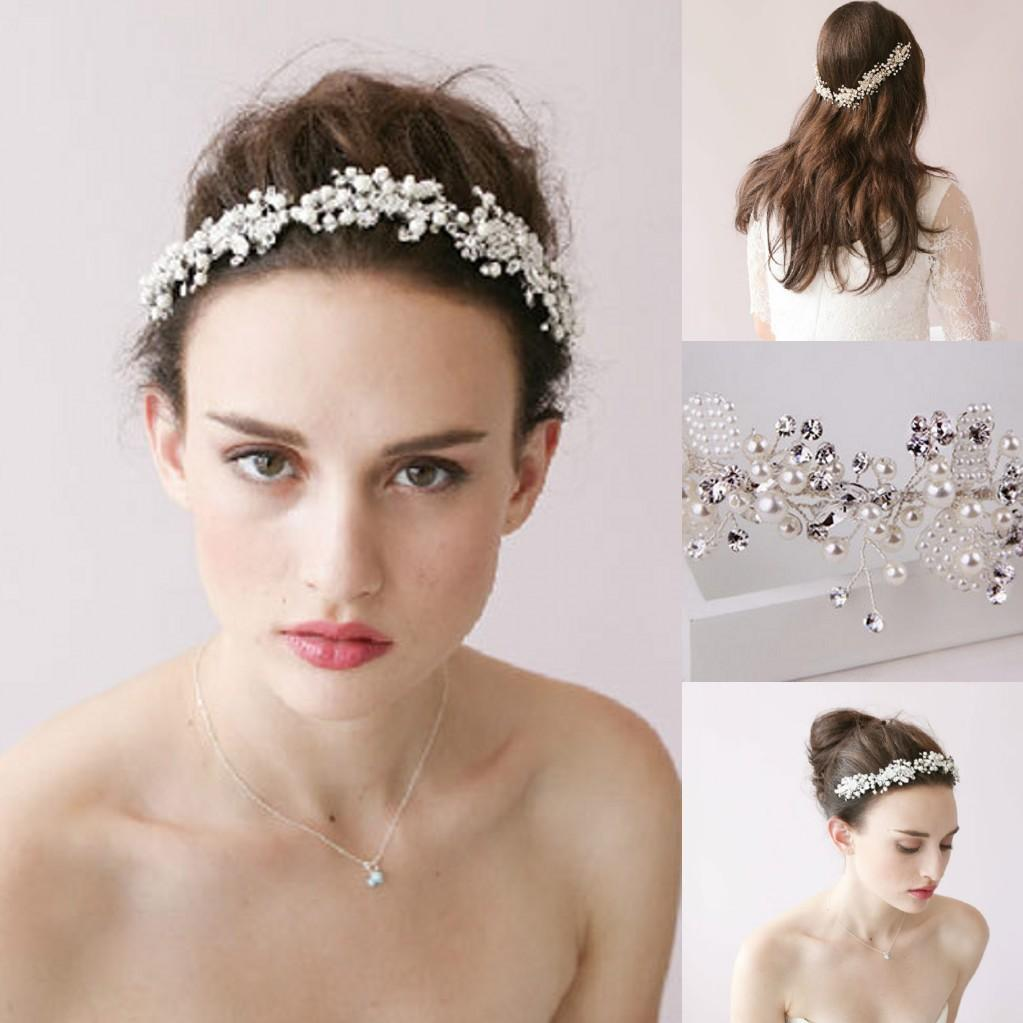 handmade wedding hair jewelry 2016 in stock luxury bridal crystal hair clips headband hair vine crystal pearls wedding headpiece bride