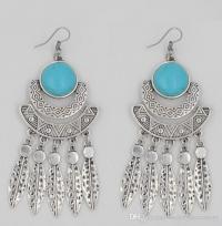 2017 Turquoise Fashion Earrings,Long Silver Earrings, Big