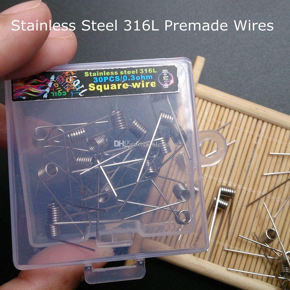medium resolution of stainless steel 316l resistance premade wires ss coils 0 3ohm wraps heating pre coiled square pre built wire box for vaping rda rebuildable atomizer wire