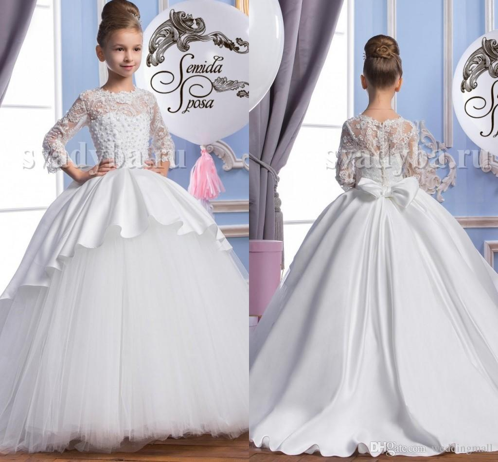 2016 Pearls Lace Long Sleeves Tulle Arabic Flower Girl