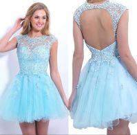 Cheap Sheer Short Homecoming Dresses 2015 Cap Sleeve ...