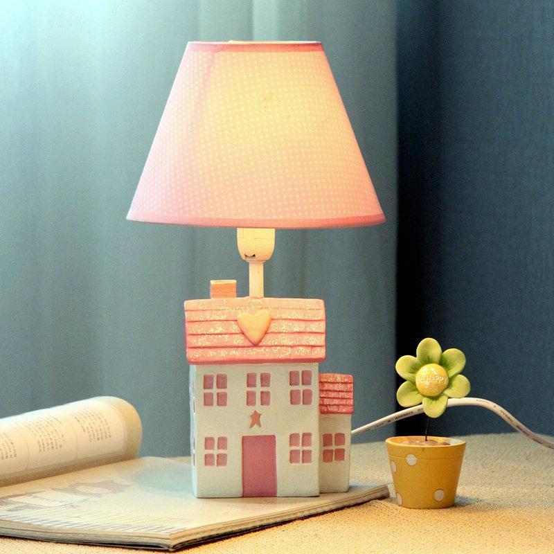 Cute Pink Girls Room Mini Table Lamp Cartoon House
