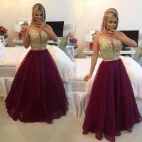 Gold And Burgundy Prom Dresses Long Backless 2016 Beaded V ...