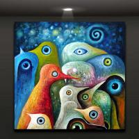 Online Cheap Colorful Abstract Birds Painting Oil Picture ...