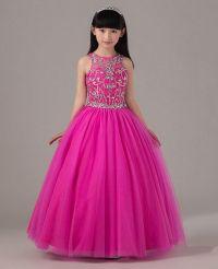 Hot Pink Beaded Pageant Dress For Little Girls Full Skirt ...