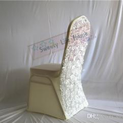 Chair Covers Ivory Double Bass Wedding Spandex With 3d Satin Rosette Fabric Lycra Wingback Sofa Slip From Sweetylifehome