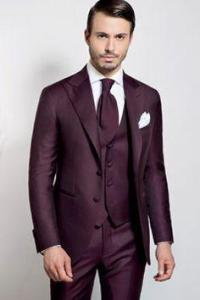 New Arrival Groom Tuxedos Plum Groomsmen Peak Lapel Best ...