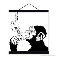 2018 Mild Art Drawings Smoking Gorilla Chimpanzee Black