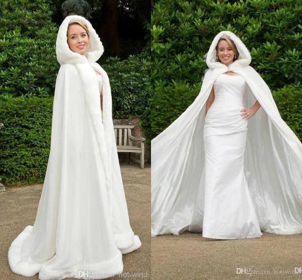 Custom 2016 Winter White Wedding Cloak Cape Hooded