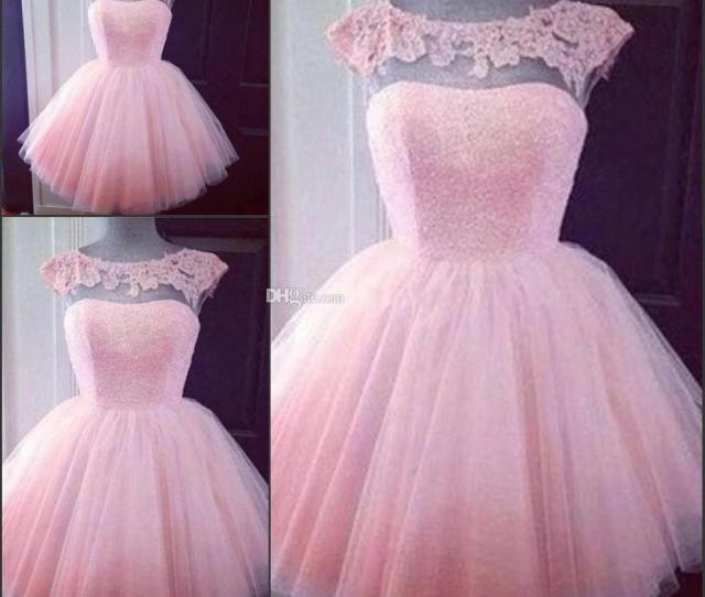 Cute Short Pink Homecoming Prom Dresses Puffy Tulle Little Pretty Party Dresses Cheap Appliques Capped Sleeves Girl Formal Gowns Puffy Prom Dresses Short
