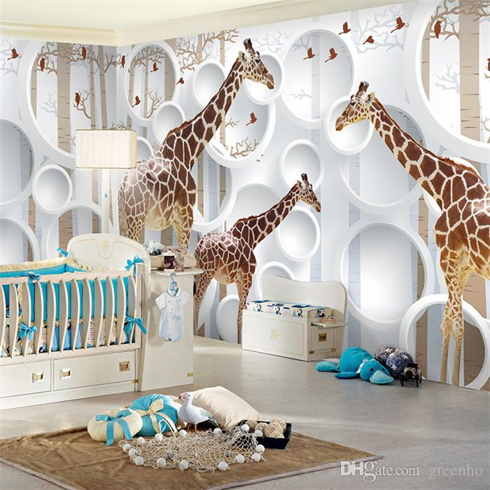 Girl Room Wallpaper And Fablic With Animal Unique 3d View Giraffe Photo Wallpaper Cute Animal Wall