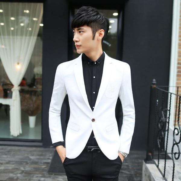 2019 Men' Slim Fit White Blazer Suit Jacket Groomsmen