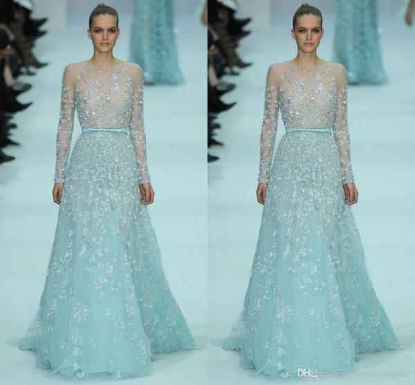 Elie Saab Prom Dresses 2015 Sexy Sheer Illusion Long