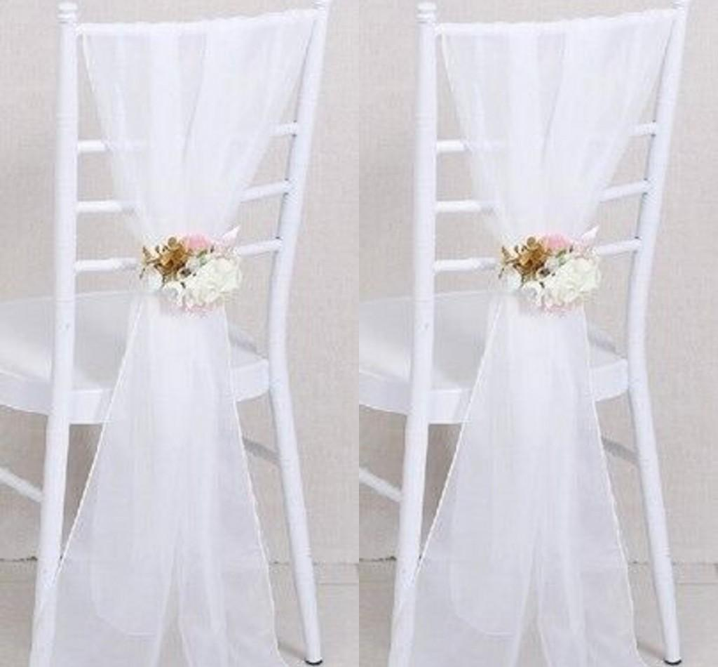 cheap chair covers for party office armrest india 2017 2015 sample wedding sashes white ribbon gauze back sash of ...
