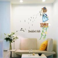 Pvc Little Girl Blowing Dandelion Wall Stickers Bedroom ...