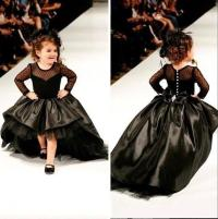 Black Little Girls Pageant Dresses Crew Neck Long Sleeves ...