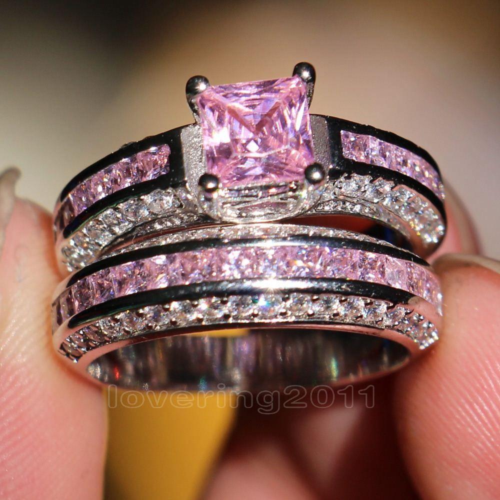 001 Victoria Wieck Princess Cut Pink Sapphire Simulated